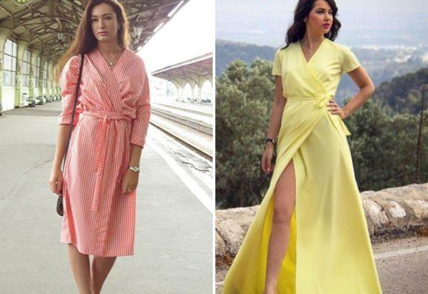 модные платья на каждый день 2018 с запахом красное желтое длинное