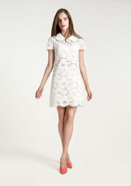 модные платья на каждый день 2018 белое под красные туфли кружева