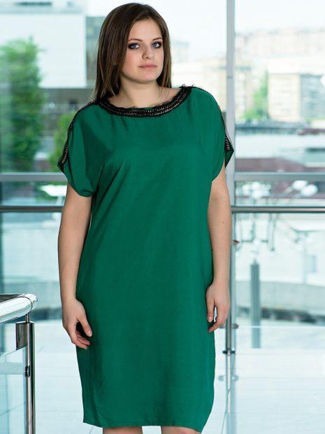 модные платья на каждый день 2018 для полных зеленое свободный крой
