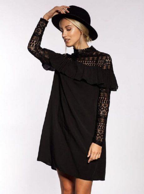 модные платья на каждый день 2018 черное с длинным рукавом свободный крой