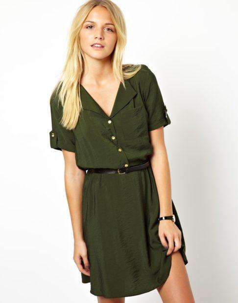 модные платья на каждый день 018 зеленая рубашка под поясок