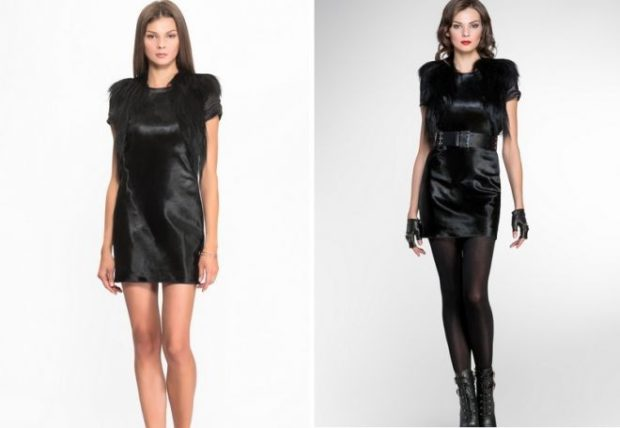 модные летние платья на каждый день: черное с мехом