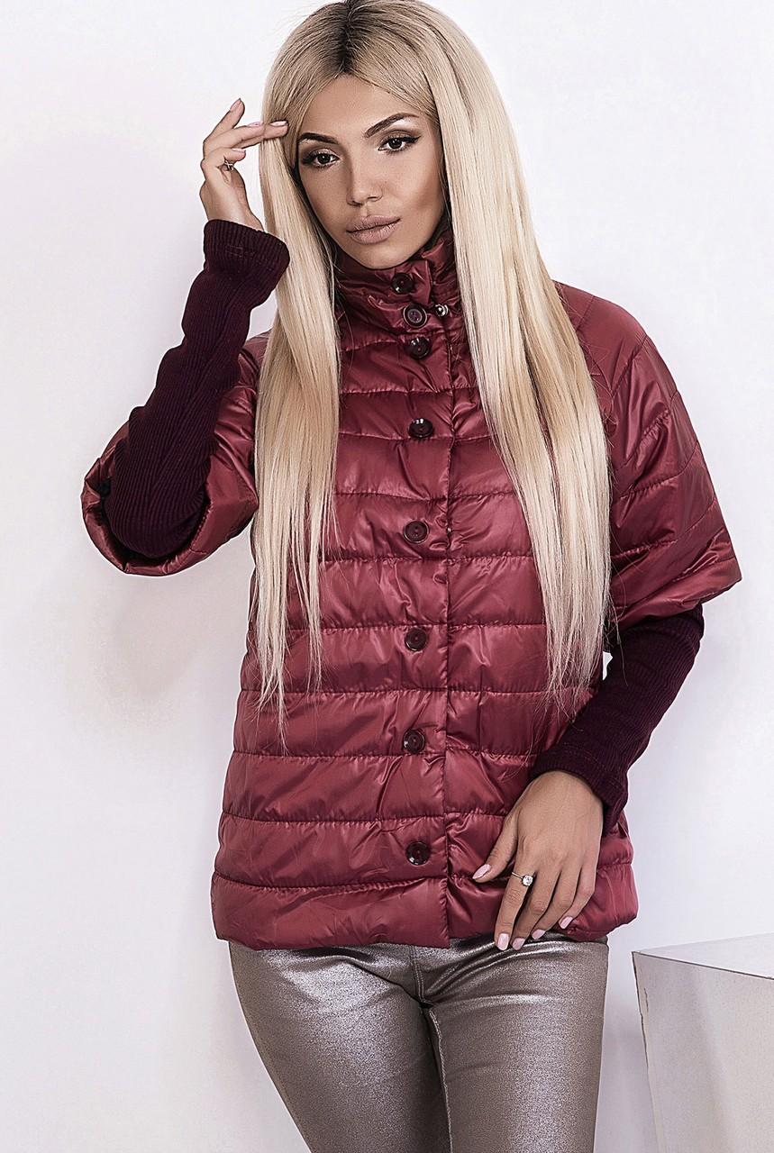 модные пуховики осень зима 2018 2019: куртка стеганая с коротким рукавом бордовая