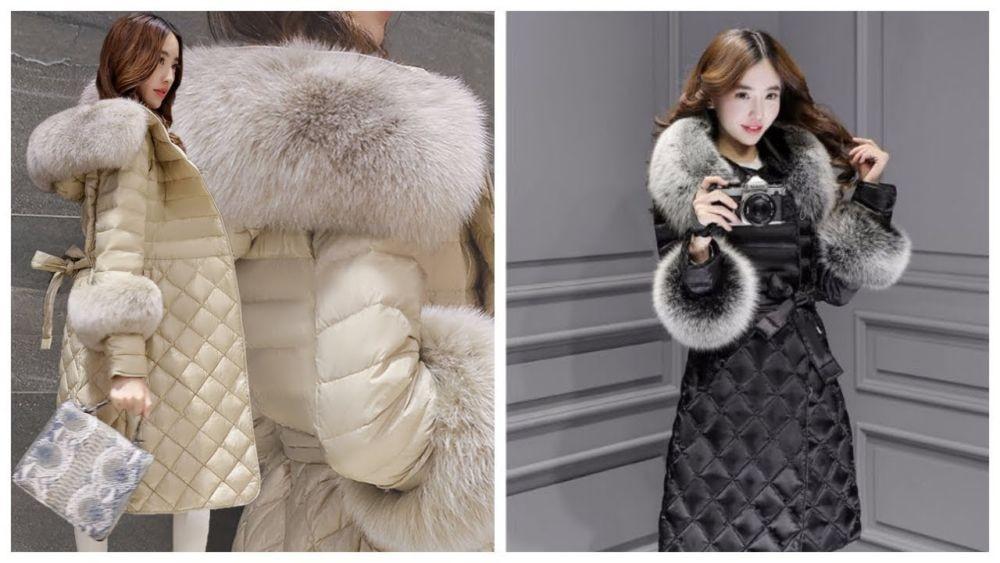 модные пуховики осень зима 2018 2019: куртка стеганая с мехом длина миди бежевая черная