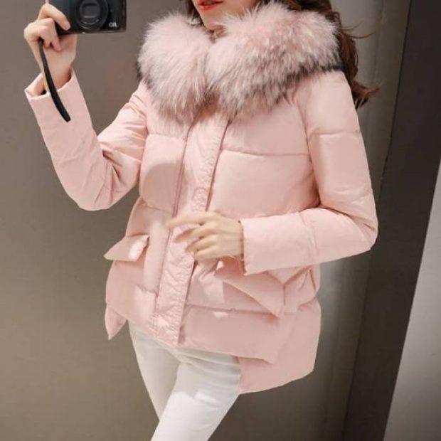 стеганая асимметрия розовая с мехом