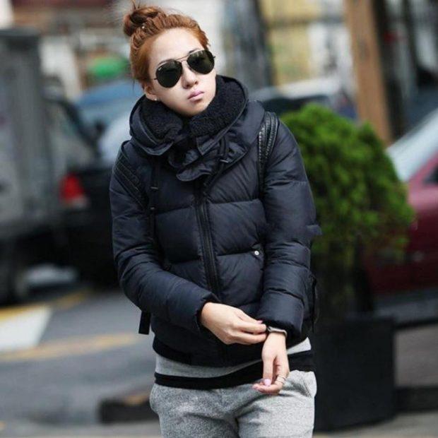 куртка стеганая короткая черная