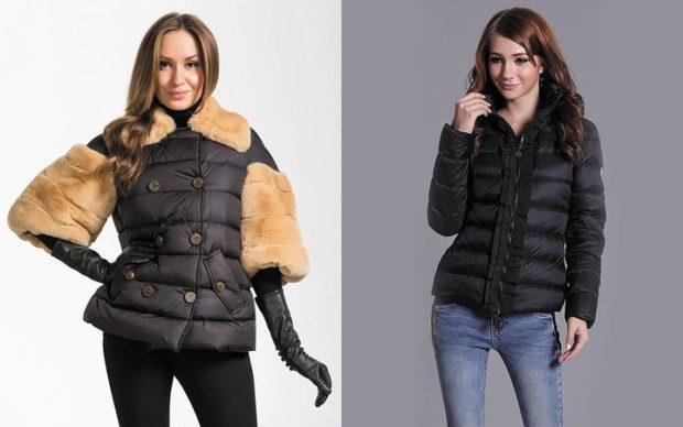 куртка короткая черная с меховыми вставками черная короткая