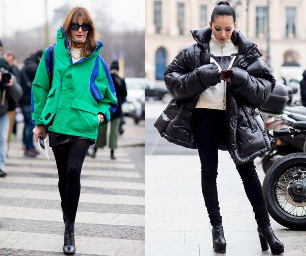 модные пуховики осень зима 2019-2020: куртка оверсайз зеленая с синим черная