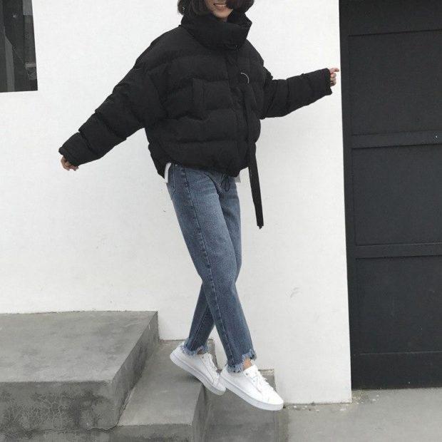 модные пуховики осень зима 2019-2020: куртка оверсайз черная короткая