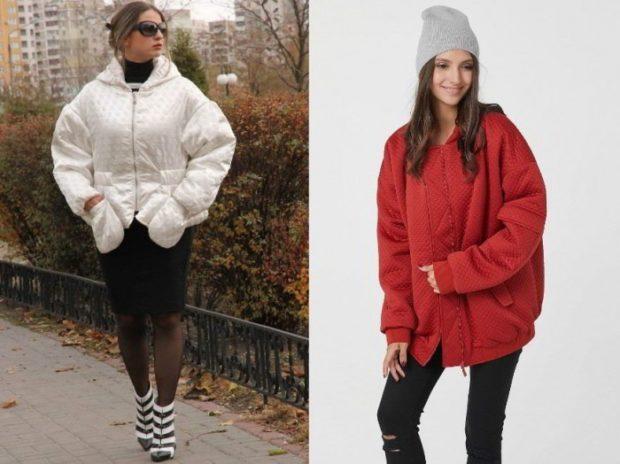 куртка оверсайз белая короткая красная