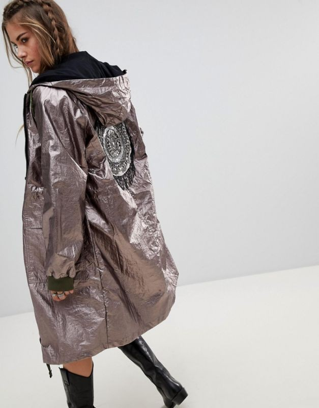 куртка оверсайз удлиненная серебристая