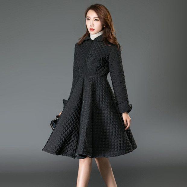 куртка-платье стеганая черная