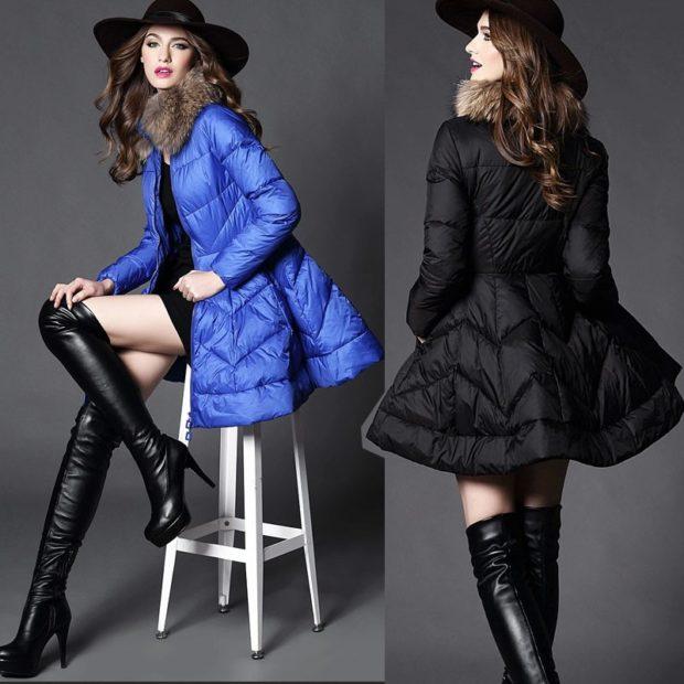 куртка-платье синяя черная