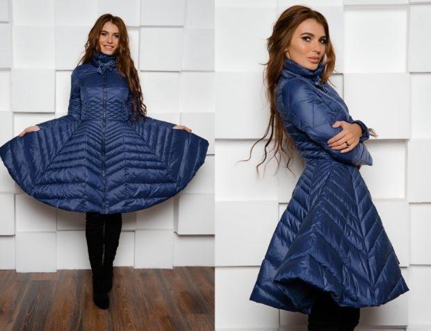 куртка-платье синяя стеганая