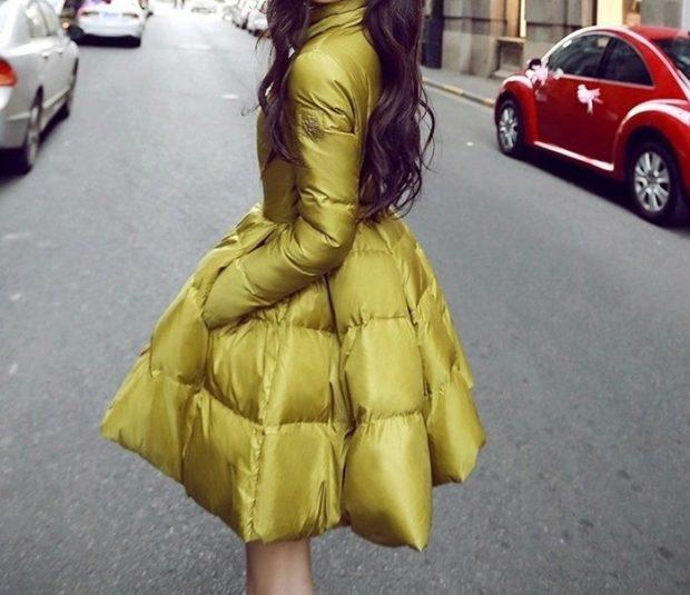 куртка-платье стеганая цвет оливки