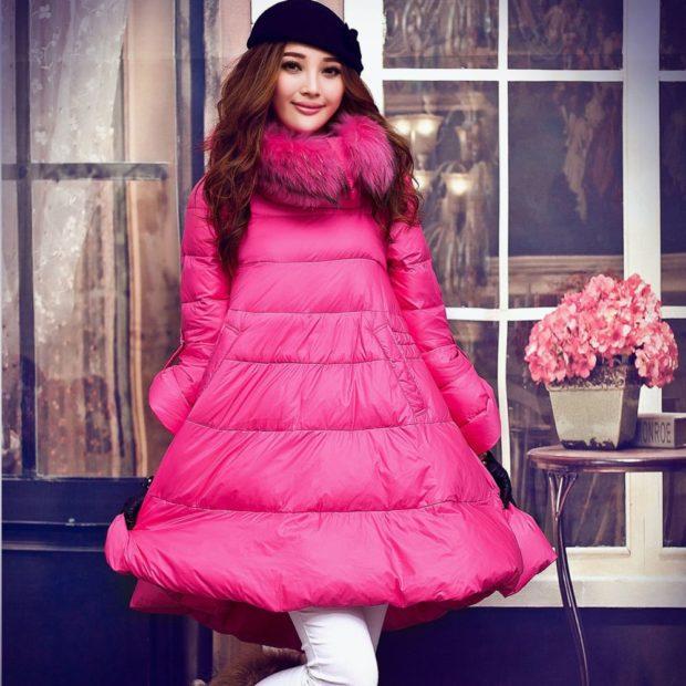 куртка-платье розовая с меховым воротом
