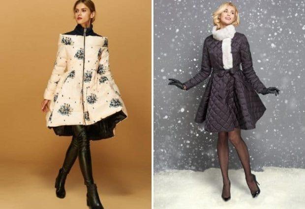 куртка-платье белая с цветами черная стеганая