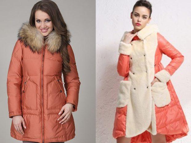 модные пуховики осень зима 2020-2021: свободные красные