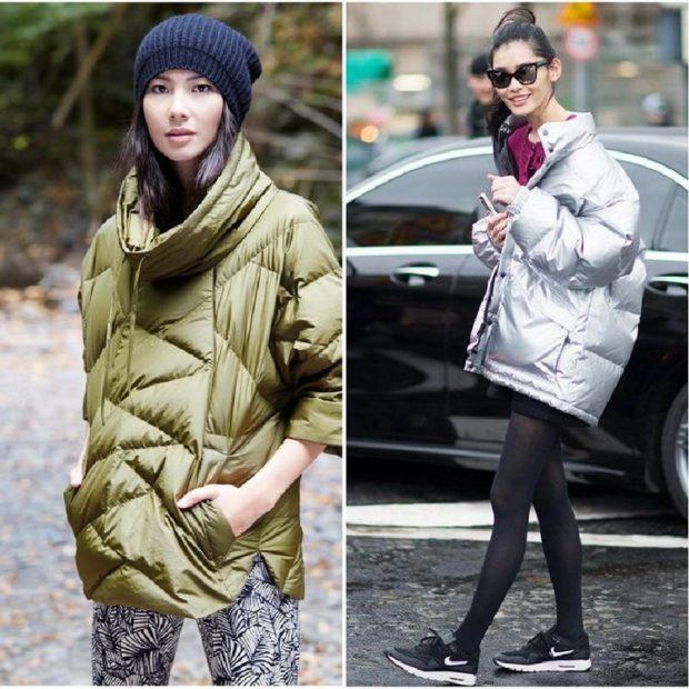 модные пуховики осень зима 2019-2020 оверсайз зеленый серый