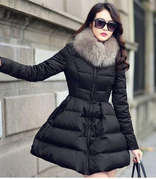 куртка-платье с мехом стеганое