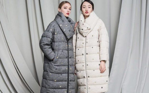 модные пуховики осень зима 2019-2020: удлиненные серый белый тканевые