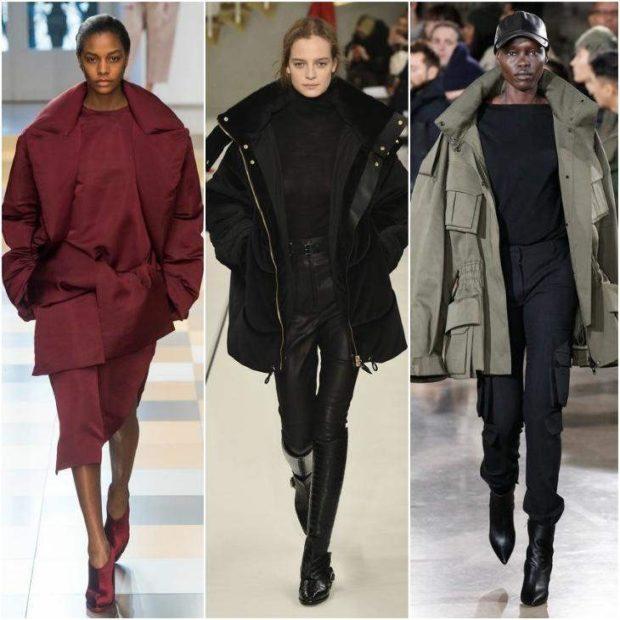 модные пуховики осень зима 2019-2020: тканевые широкие бордо черный хаки