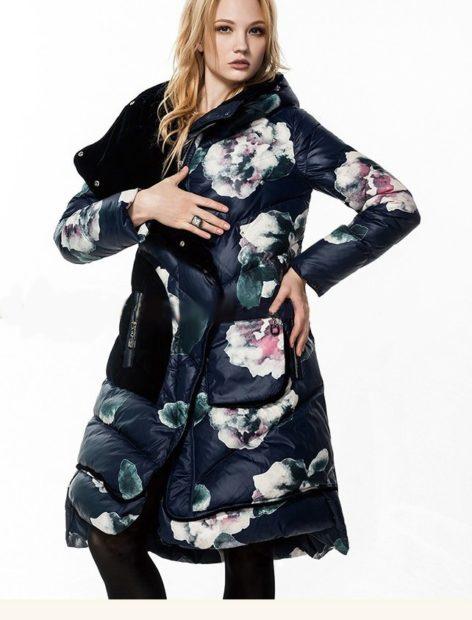 модные пуховики осень зима 2019-2020 удлиненный в цветы