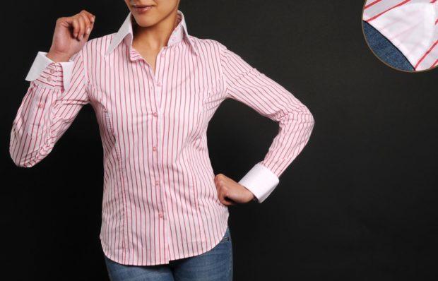модные женские рубашки в полоску розовая