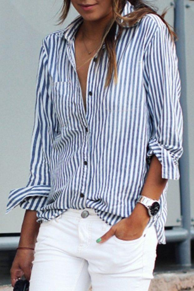модные женские рубашки в полоску свободный крой