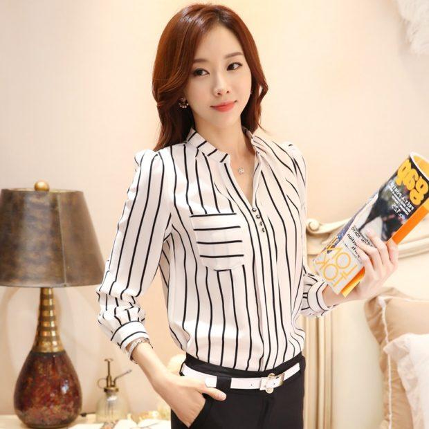 модные женские рубашки в полоску вертикальную