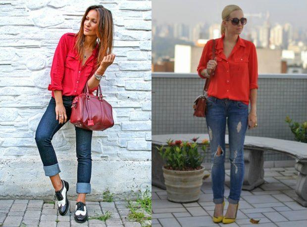 модные женские рубашки красные свободный крой