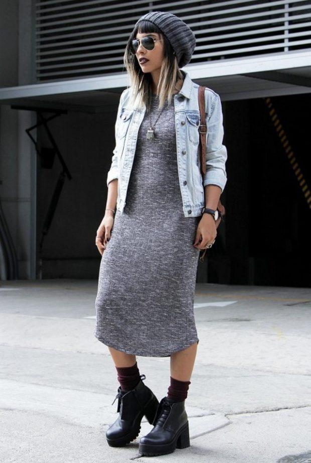 модные сеты платья серое миди трикотаж