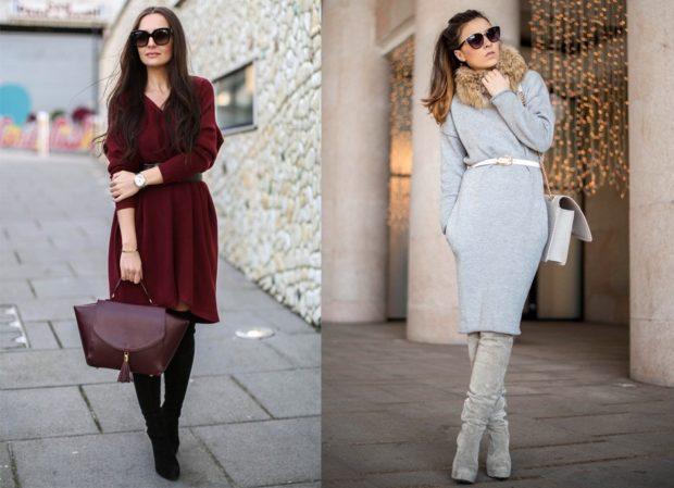 модные сеты платья миди бордо серое