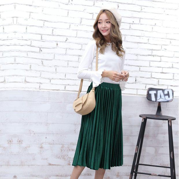 модный сет: юбка в складку зеленая