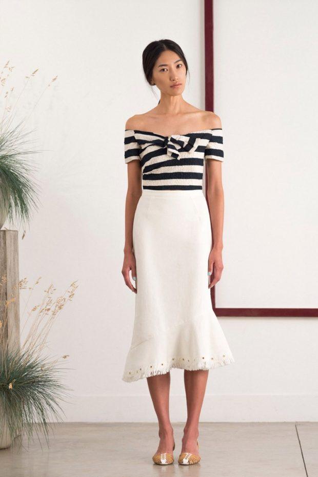 модный сет: юбка-трампет белая