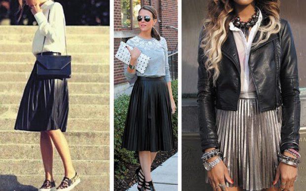 модный сет: юбки черные в складку