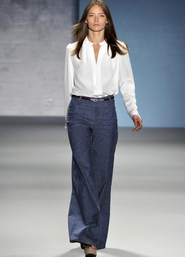 модные сеты брюки клеш синие
