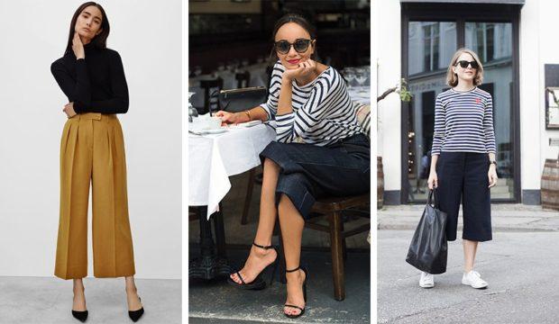 модные сеты брюки кюлоты беж черные