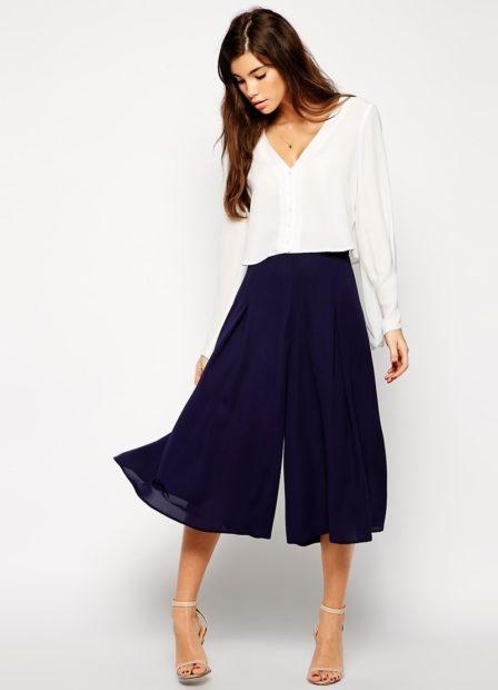 модные сеты 2018 брюки кюлоты синие