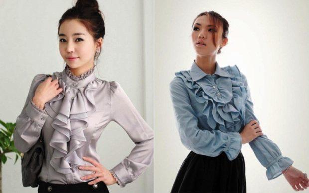 модный сет: блузка с воланами бежевая синяя