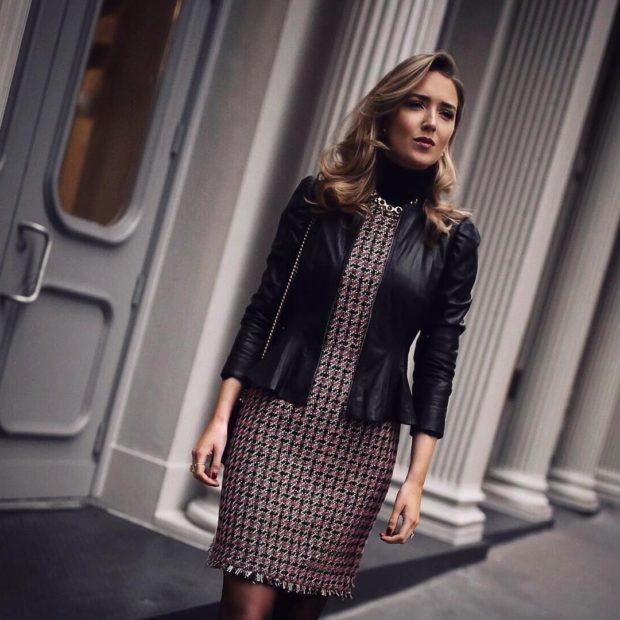 модные сеты 2019-2020: платье гусиная лапка косуха черная