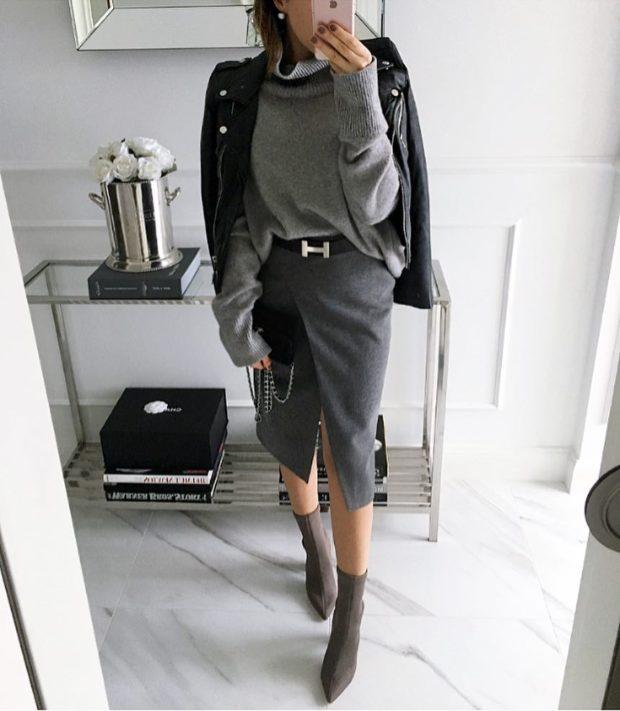модные сеты 2019-2020: серая юбка под серую кофту и косуху черную