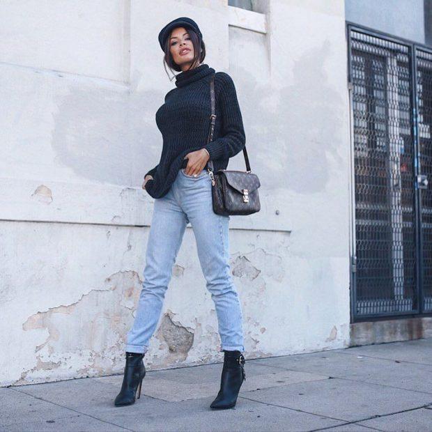 модные сеты 2020-2021: джинсы кофта ботильоны на каблуке