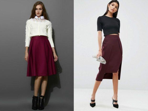 модные сеты: юбки винного цвета под блузку белую черную