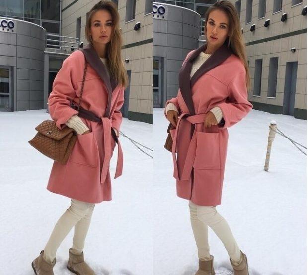 модные сеты: розовое пальто под белые лосины