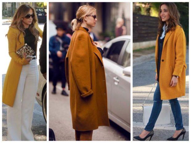 модные сеты: пальто горчичного цвета под брюки и джинсы
