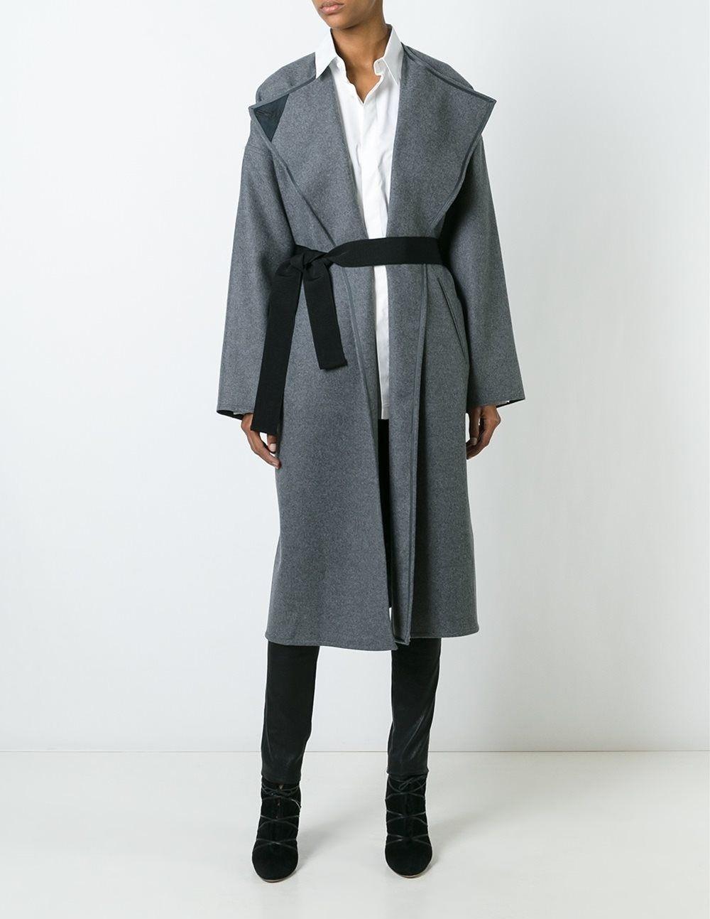 модные сеты 2018: серое пальто под классический стиль