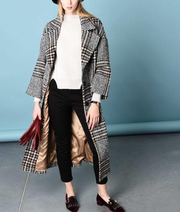 модные сеты: пальто в клетку длина миди под короткие брюки