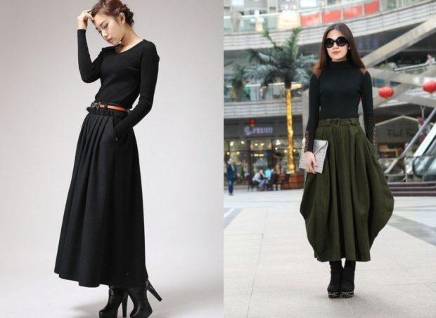 модный сет: юбки темные длинные под черные кофты