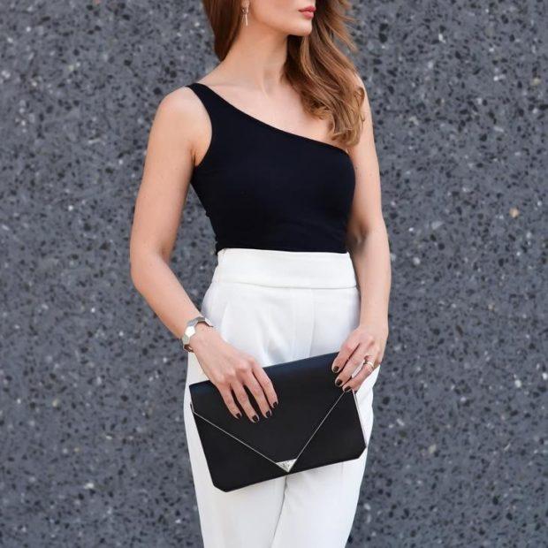 модный сет: белая юбка карандаш под красивый черный топ